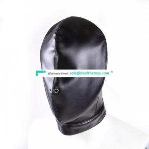 Full Head Cover With Two Nose Air Holes Blindfold Black Leather Hood