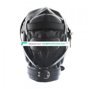 Full Sealed Head Hood With Two Nose Air Holes In Black Leather Hood