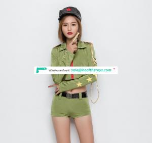 Green Cool Sexy Woman Uniform Short Costume