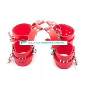 HOT 3 Color Choice Leather Body Bondage Restraint Lockable Wrist Cuffs Handcuffs Center Connector With Ankle Cuffs Hogtie Kit
