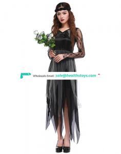 Halloween Hallowmas Elegant Lace Sleeve Grey Chiffon Black Costume