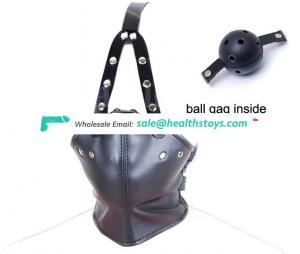 High Quality BDSM Plastic Ball Gag Inside PU Leather Face Mouth Cover Bondage Neck Restraint Adult Slave Sexy Love Game Toy