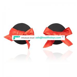 High Quality Beautiful Black Round Decorative Red Bowknot Nudebra Breast Covers Girl Women Nipple Covers And Nipple Pasties
