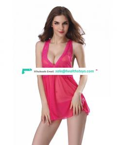 Hot Lady Silk Sexy Halter Keyhole Transparent Lingerie Bodysuit Nighty Babydoll
