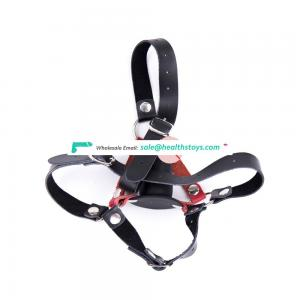 Hot Real Leather Sexy Bondage Head Harness With Silicone Dildo Gag Adult Sex Fun Mouth Restraint Gag Toy