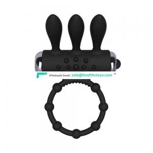 Levett Silicone Vibrator Cock Ring With Gunmetal Mini Bullet Powerful Massager Cock Ring For Couple