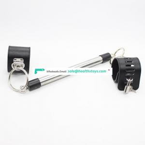 Lock Keys Decorated Removable Long Hole Leather Bracelet Handcuffs Wrist Cuffs With Eagle Bar Kit