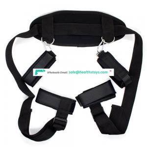 Long Fur Under The Bed Handcuffs/Ankle Cuffs with Neck Protection Wide Belt Bondage Harness Belt