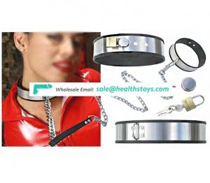 Many Color Choice Silicone Side-wrapped Surrounding And Leash Titanium Alloy Collar Choker With Lock Chain