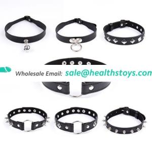 Many Types Different Design Best Sexy Black Leather Choker Collar Bondage Restraint Necklace