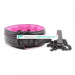 NEW High Quality Adult Flirting Sex Product Black Leather Pink Sponge Nice Necklace Choker Collar With Leash
