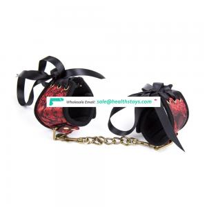 NEW Tie Design Quick Adjustment Especial Red Flower Neoprene With Golden Thick Chain Handcuffs Ankle Foot Cuffs