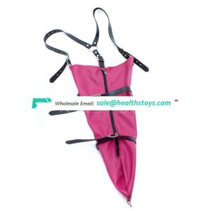NEW Type PU leather Arms Against Back in Ane Piece Arms Restraint Bag with Zipper Leather Harness Bodnage Lingerie
