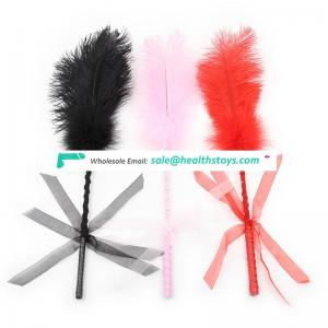 Naughty Ostrich Feather With Beautiful Lace Bowknot Ribbon Belt Adult Love Game Flirting Fetish Toy Slapper Bondage Tickler