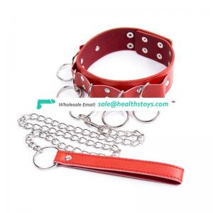 New Design Leather Chocker Collar With Many Rings Arround Restraint Bondage Necklace Collar Love Game Flirting Toy