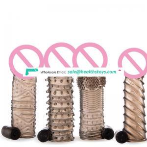 New Full TPE  Penis Sleeve Extender Vibrator Condom  For Man