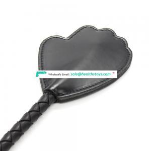 O Metal Ring Black Leather Cute Hand Shape Teaching Crop High Quality Paddle Bat