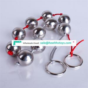 On Sale Silver Stainless Steel Anal Beads with Ring Ass Masturbation Anal Plug