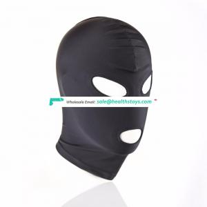 Open Eyes And Mouth Black Sexy Full Head Mask Bondage Reatraint Face Hood