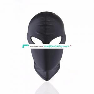 Open Eyes Shelter Mouth Black Full Headgear Head Cover Mask Bondage Reatraint Face Hood