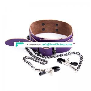 Purple Real Leather Elegant Choker Necklace Collar Chain With Nipple Clamps For Adult Fun Stimulating Toy