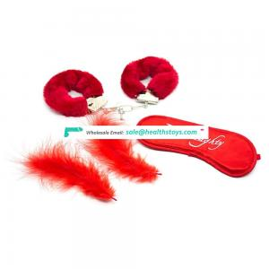 Red 3pc Bondage Kit Including Fur Handcuffs/Feather Tickler/Satin Eye Mask