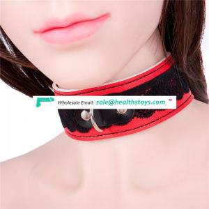 Red Leather Joint Black Lace Collar Bondage Restraint Girls Ladies Women Show Sexy Decorative Wide Necklace Choker