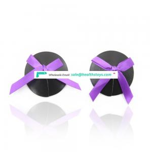 Sexy Black And Purple Safe Wear Lingerie Round-shape Decorative White Bowknot Nudebra Nipple Covers And Nipple Pasties