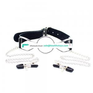Sexy Slave Toy Real Leather 3 Sizes Stainless Steel O-ring Spider Frame Open Mouth Gag With Nipple Clamps