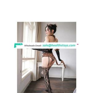 Sexy lingerie sexy garter uniform seduces the wild leopard print jumpsuit