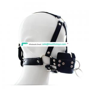 Shiny Silicone Ball Gag Mouth Gag Sexy Leather Head Harness Soft Mouth Restraint Mask With Leash