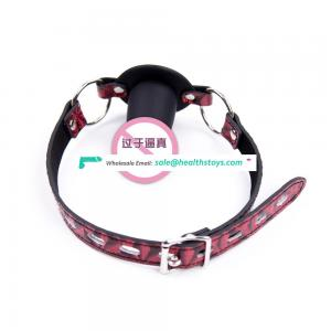 Simple Silicone Soft Make Sex Fun Dildo Gag With Red Flower Leather Belt Mouth Restraint Gag Adult