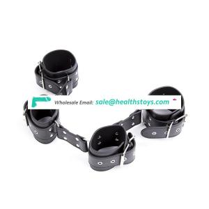 Slave Body Bondage Adult Body Cuffs Rivets Decorated Black Leather High Quality Restraint Handcuffs Ankle Foot Cuffs