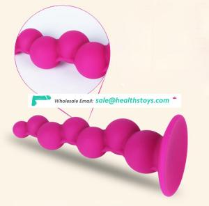 Soft High Quality Silicone Balls On Two Sides 15cm Extra Long Anal Beads With Suction Cup Stimulating Ass Intruder Toy Butt Plug