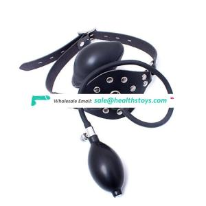 Special Inflatable Soft Ball Gag Mouth Gag Rivets Decorated Leather Stimulating Mouth Restraint Cover Mask