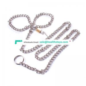 Super Long Stainless Steel Bondage Restrain Sexy Slave Silver Body Belly Chain With Lock