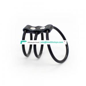 Three Ring 3-ring Silicone Joint Leather Sexy Magic Men Underwear Male Sex Bondage Penis Dick Cock Ring