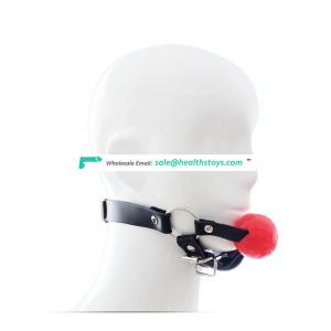 Tiny Adult Sex Toy Black PU Leather With Chin Belt Shiny Silicone Ball Gag For Sex Fun Mouth Gag