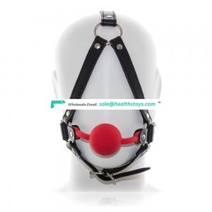 Tiny BDSM Adult Flirting Toy Silicone Ball Gag Mouth Restraint Medical Head Harness With Black Triangle Frame Mouth Gag Kit