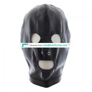 Two Nose Air Holes Open Eyes And Mouth Black Leather Lace Up Sexy Full Head Hood