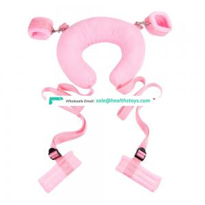 Under Bed Bondage Position Master With Cuffs And Neck Harness Fuzzy Pillow Sex Love Restraint Kit
