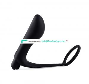 Well Made Good For Men Male Black Silicone 10-mode Vibration Large Head Anal Plug With Cock Ring