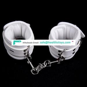 White Elegant High Quality Soft Leather Sponge Inside Warm Wrist Cuffs Handcuffs Foot Ankle Cuffs
