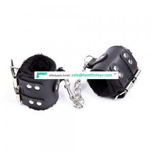 Wide Two Belts PU Leather Outside Long Fur Inside Warm Soft Handcuffs Ankle Cuffs