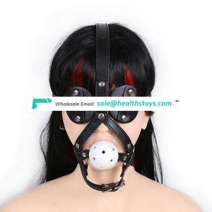 best selling attractive style masquerade SM sexly Black Panda horse shaped white hollow hard ball mouth gag plug