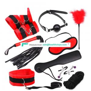 10 Pieces Adult Bondage Kit Set For Couple BDSM Sex Toy With Whip And Hand Bat