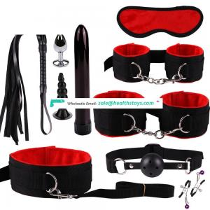 2019 Adult SM Play Game Sex Toys 10 Pieces Bondage Sets for Couple BDSM Cheap Price With Anal Plug And Mini Vibrator