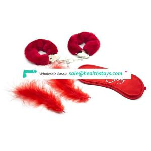 Adult Plush Sexy Accessories Black/Red Plush Handcuffs with Eyes Mask Feather 3 Pieces Set SM Sex products