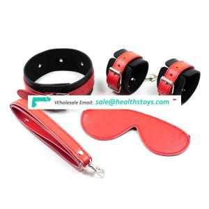 Black red feather adult slave games 3 pcs/sets of eye masks handcuffs collars bondage restraint sex toys
