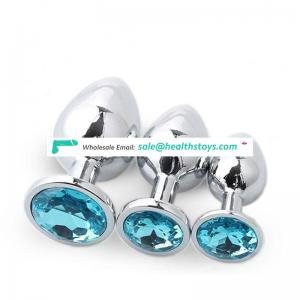 Colorful 1pcs or 3pcs 1set Stainless Steel Metal Anal Plug Crystal Jewelry Butt Plug For Men